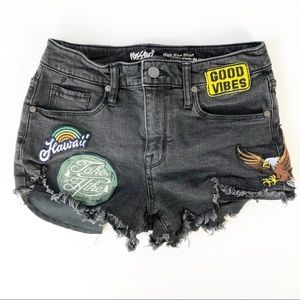 Mossimo | Patched Distressed High Rise Jean Shorts